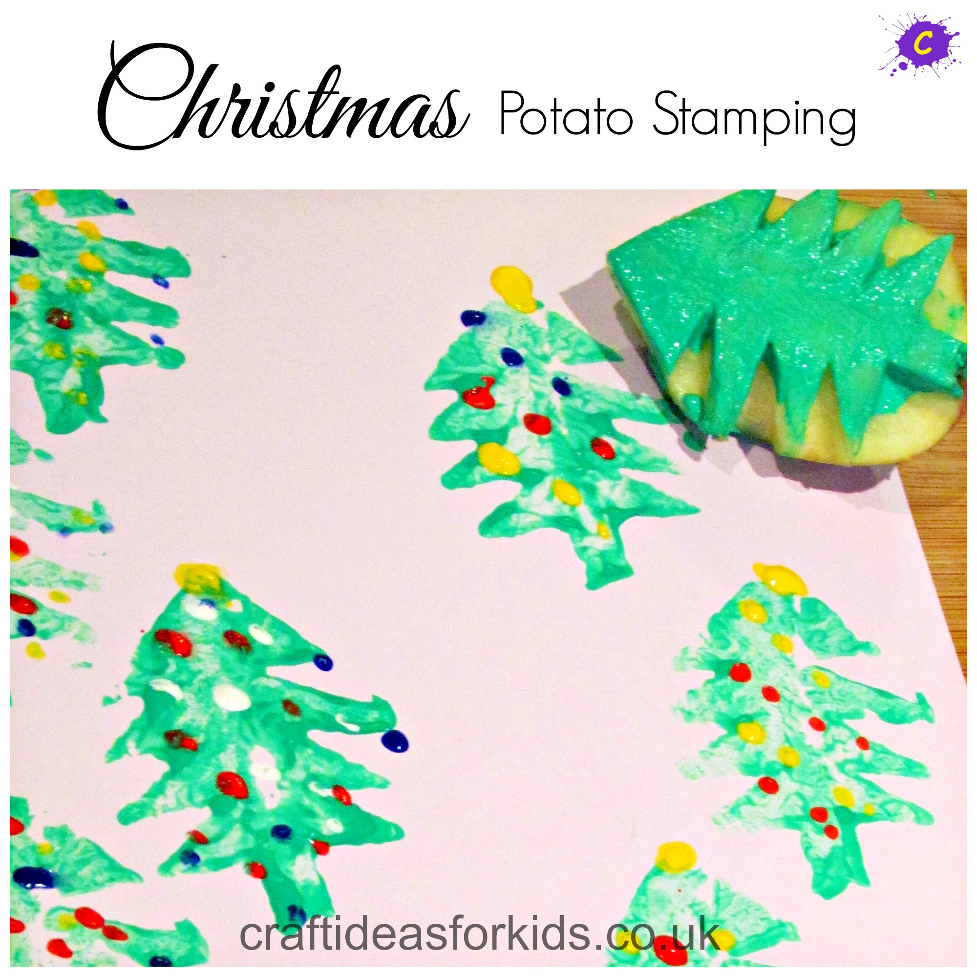 Craft Ideas for Kids - Christmas Potato Stamping