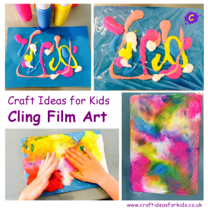 Craft Ideas for Kids - Cling Film Art