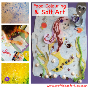 Craft Ideas for Kids - Food Colouring and salt art